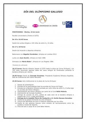 Programa Día Olimpismo Gallego